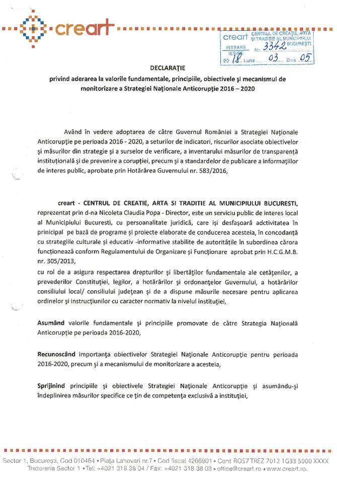 Declaratie de aderare SNA 2016-2020